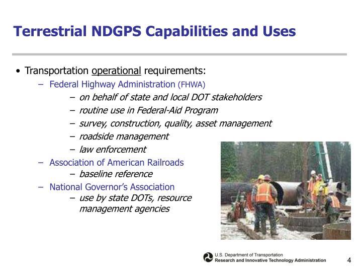 Terrestrial NDGPS Capabilities and Uses