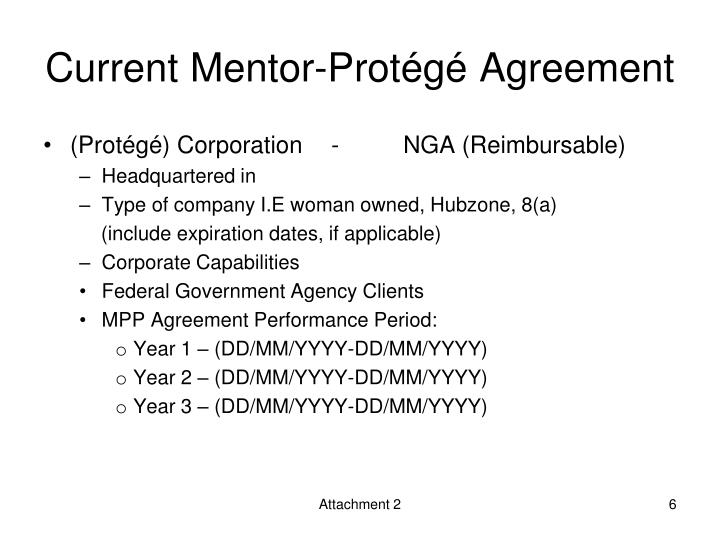 Current Mentor-Protégé Agreement