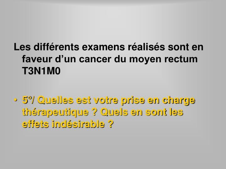 Les différents examens réalisés sont en faveur d'un cancer du moyen rectum T3N1M0