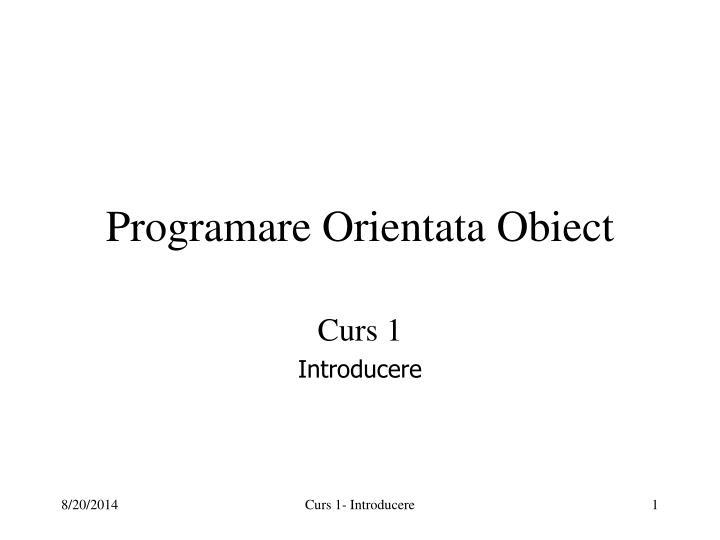programare orientata obiect n.
