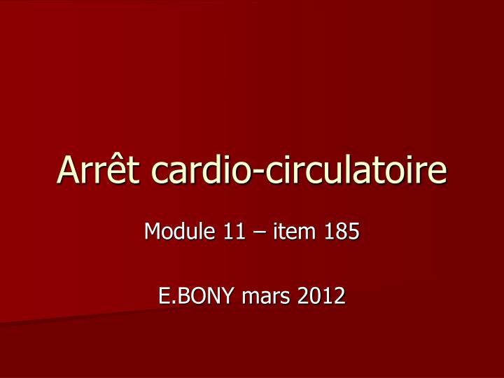 arr t cardio circulatoire n.