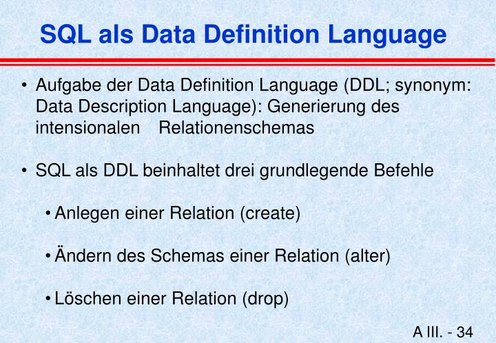 SQL als Data Definition Language
