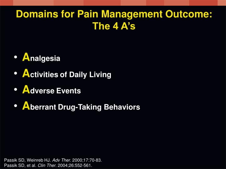 Domains for Pain Management Outcome: