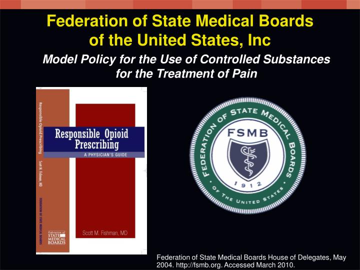 Model Policy for the Use of Controlled Substances for the Treatment of Pain