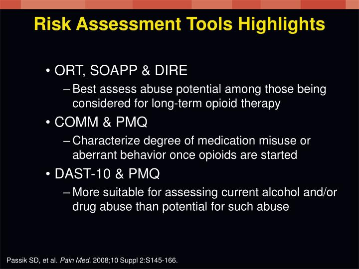 Risk Assessment Tools Highlights