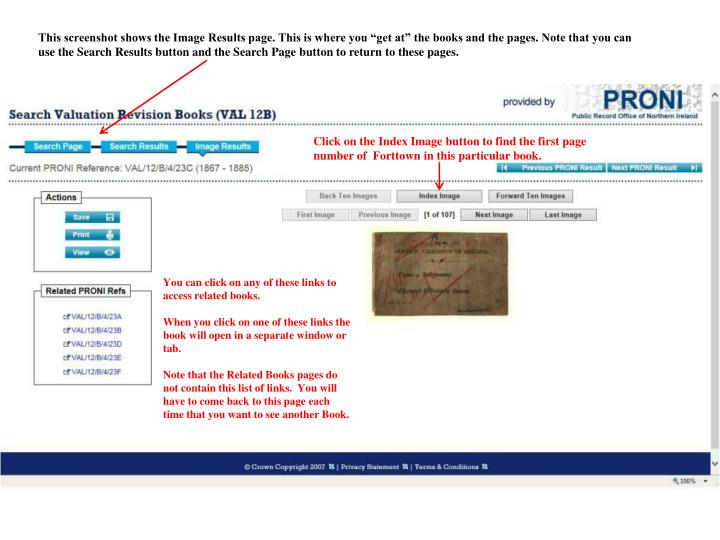 "This screenshot shows the Image Results page. This is where you ""get at"" the books and the pages. Note that you can use the Search Results button and the Search Page button to return to these pages."