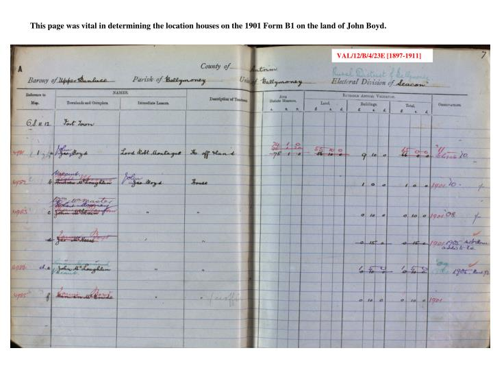 This page was vital in determining the location houses on the 1901 Form B1 on the land of John Boyd.