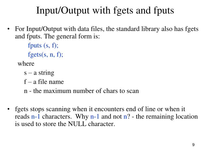 Input/Output with fgets and fputs