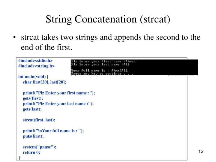 String Concatenation (strcat)