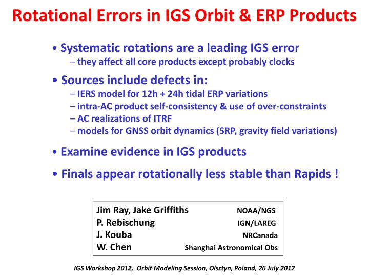rotational errors in igs orbit erp products n.