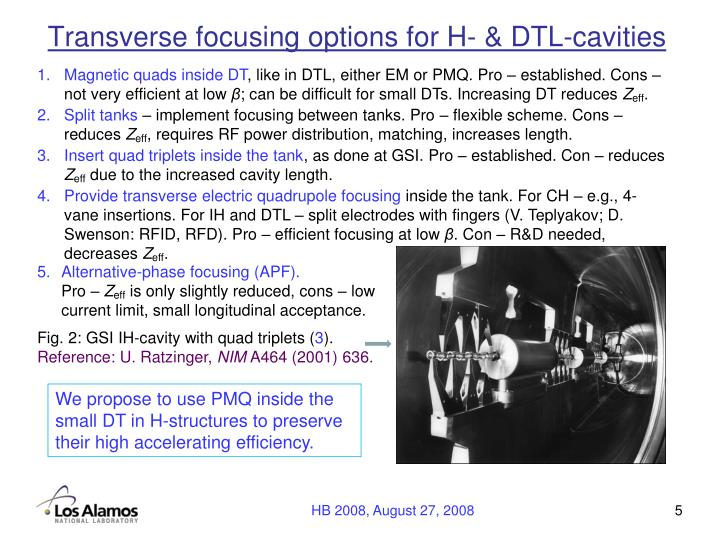 Transverse focusing options for H- & DTL-cavities