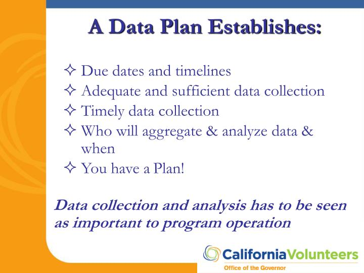 A Data Plan Establishes: