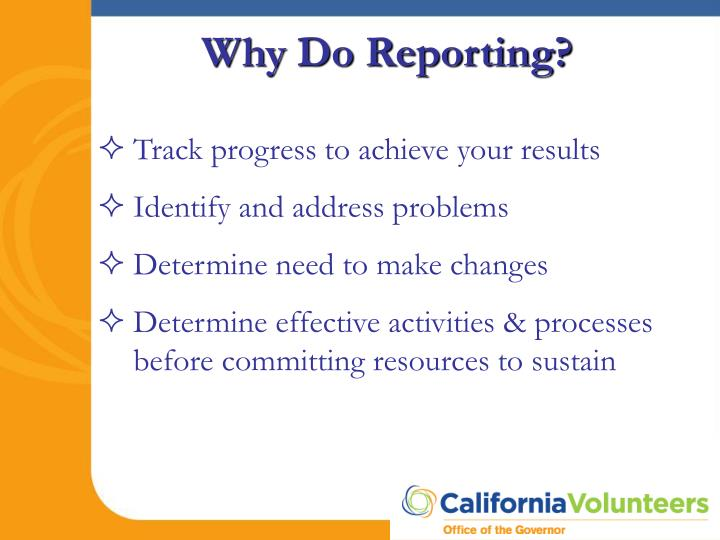 Why do reporting