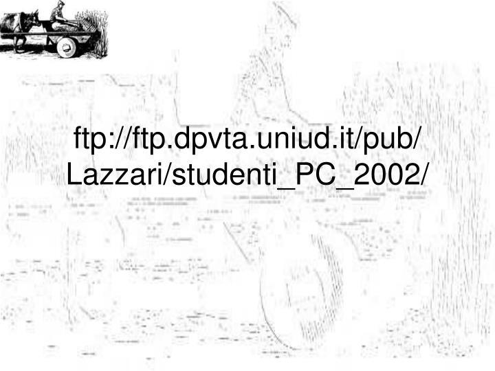 Ftp ftp dpvta uniud it pub lazzari studenti pc 2002