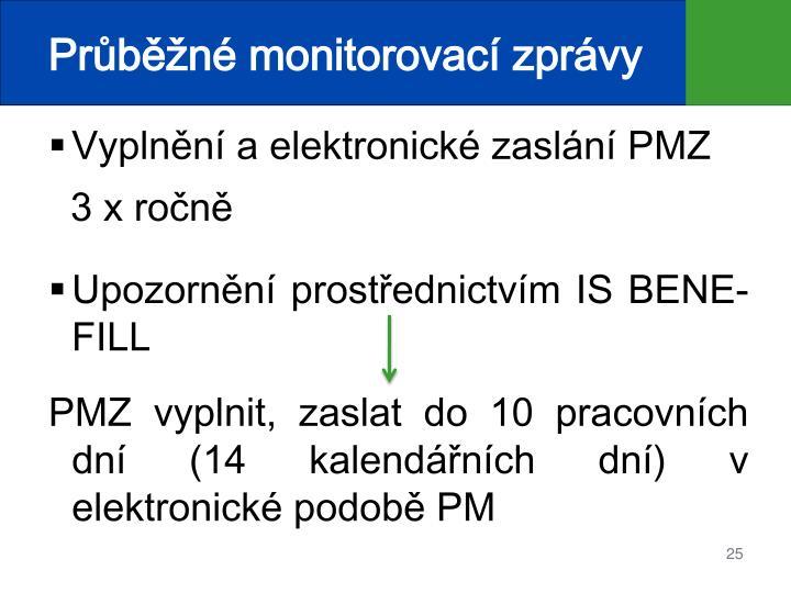 Průběžné monitorovací zprávy