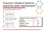 crossover variations based on sequential path representation