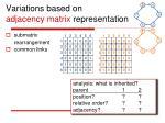 variations based on adjacency matrix representation
