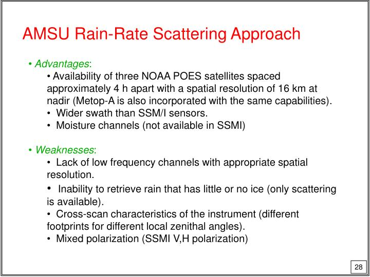 AMSU Rain-Rate Scattering Approach