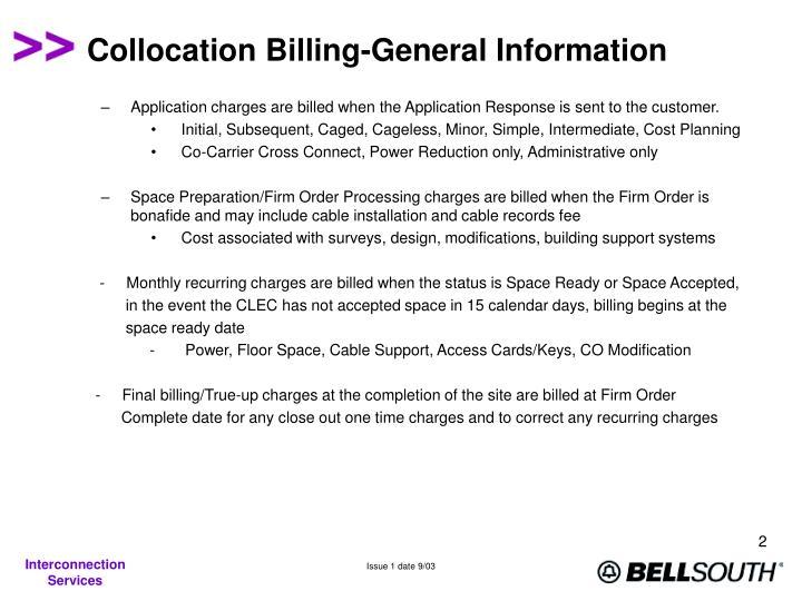 Collocation Billing-General Information