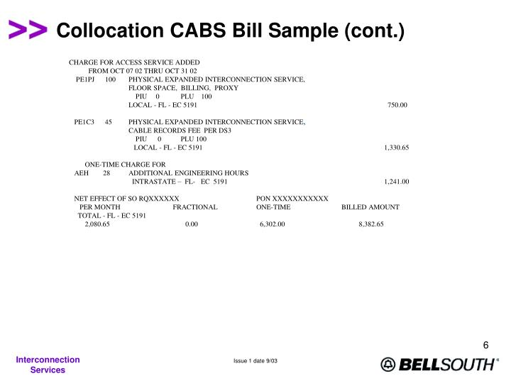 Collocation CABS Bill Sample (cont.)
