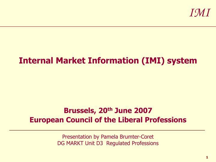 Internal Market Information (IMI) system