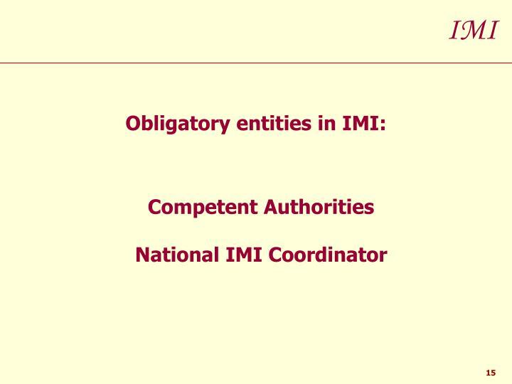 Obligatory entities in IMI: