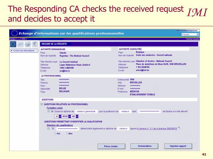 The Responding CA checks