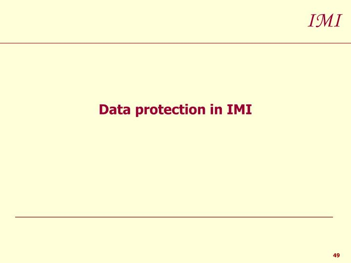 Data protection in IMI