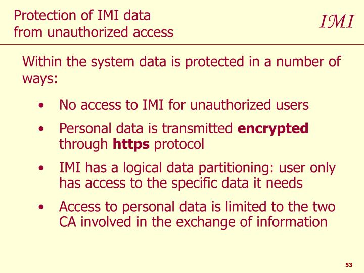 No access to IMI for unauthorized users