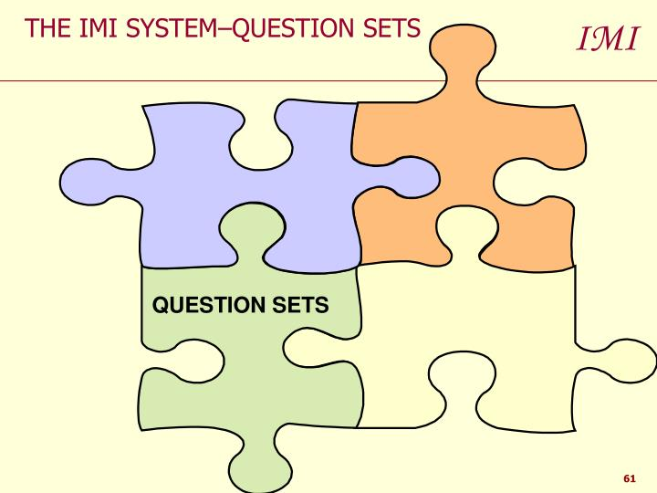 THE IMI SYSTEM–QUESTION SETS