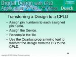 transferring a design to a cpld