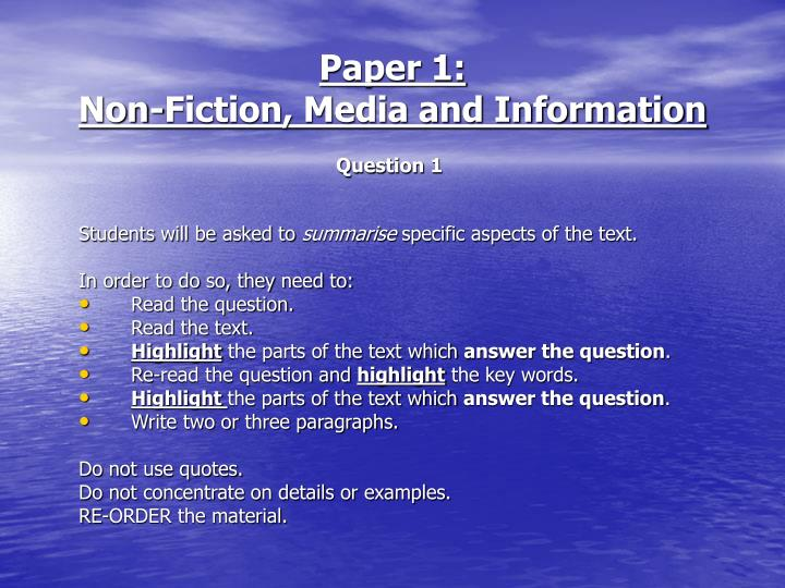 Paper 1 non fiction media and information