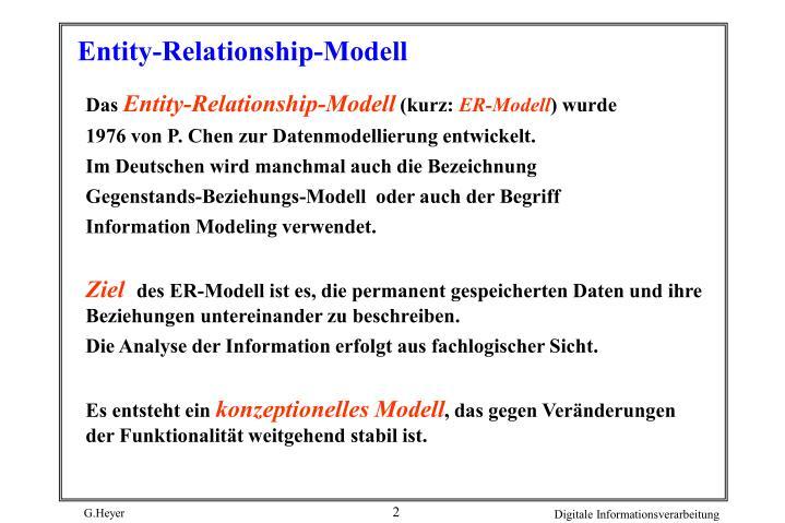 Entity relationship modell