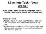 1 5 minute task jean brodie