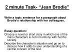 2 minute task jean brodie