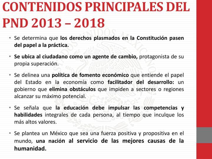 CONTENIDOS PRINCIPALES DEL PND 2013 – 2018