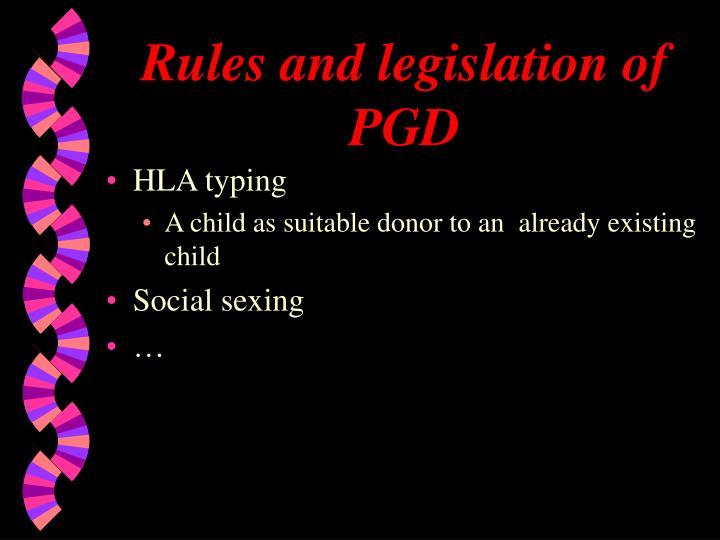 Rules and legislation of PGD