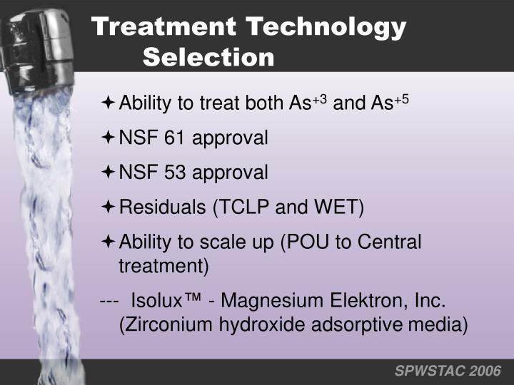 Treatment Technology Selection