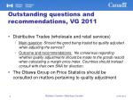 outstanding questions and recommendations vg 20111
