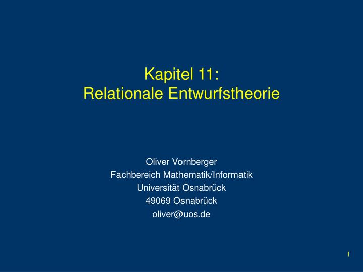 Kapitel 11 relationale entwurfstheorie