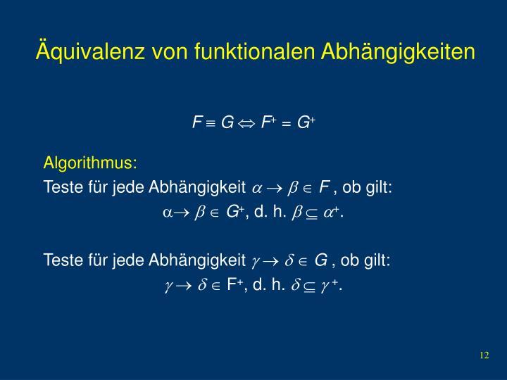 Äquivalenz von funktionalen Abhängigkeiten