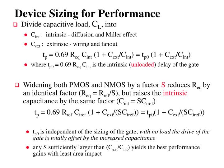 Device Sizing for Performance