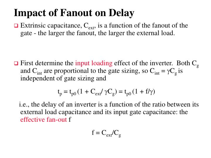 Impact of Fanout on Delay