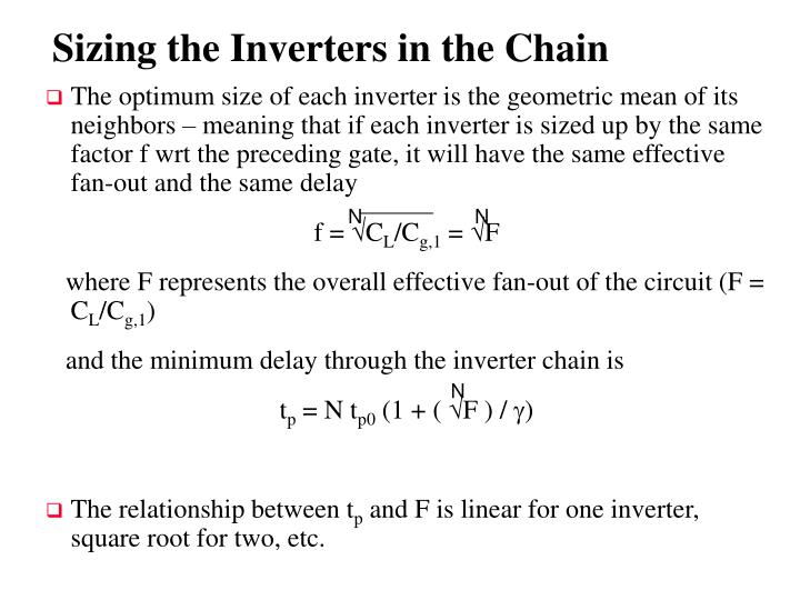 Sizing the Inverters in the Chain