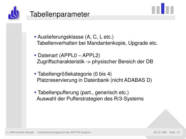 Tabellenparameter