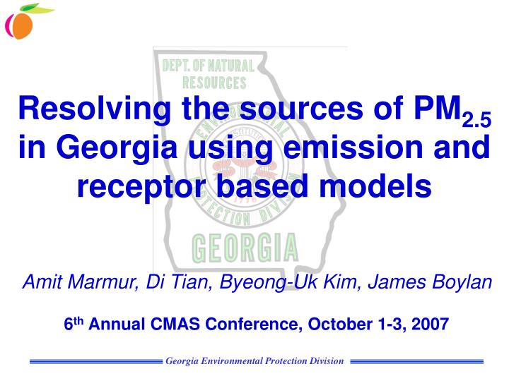 resolving the sources of pm 2 5 in georgia using emission and receptor based models n.
