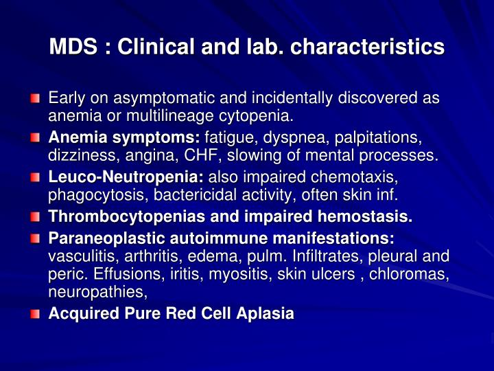 MDS : Clinical and lab. characteristics