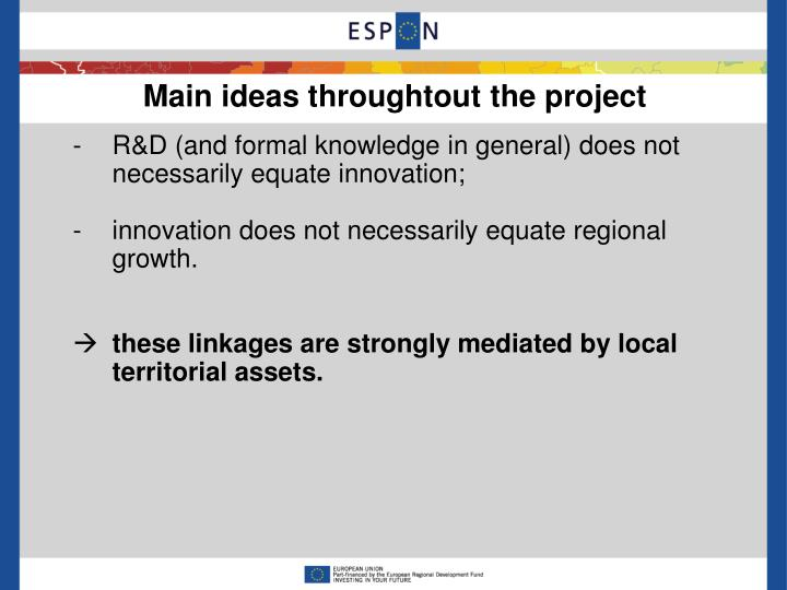 Main ideas throughtout the project