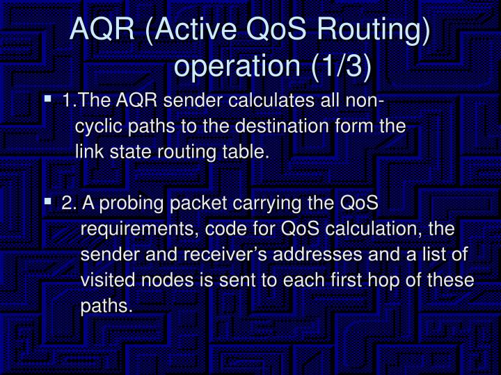 AQR (Active QoS Routing) operation (1/3)