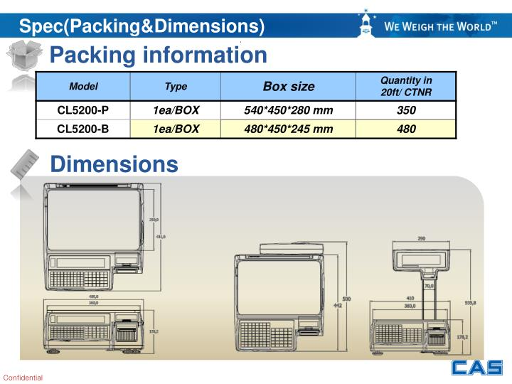 Spec(Packing&Dimensions)